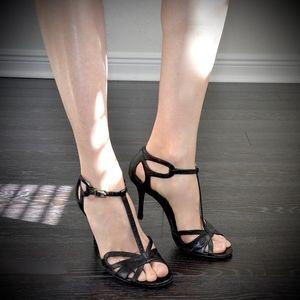 CELINE Black Ankle Strap Sandals